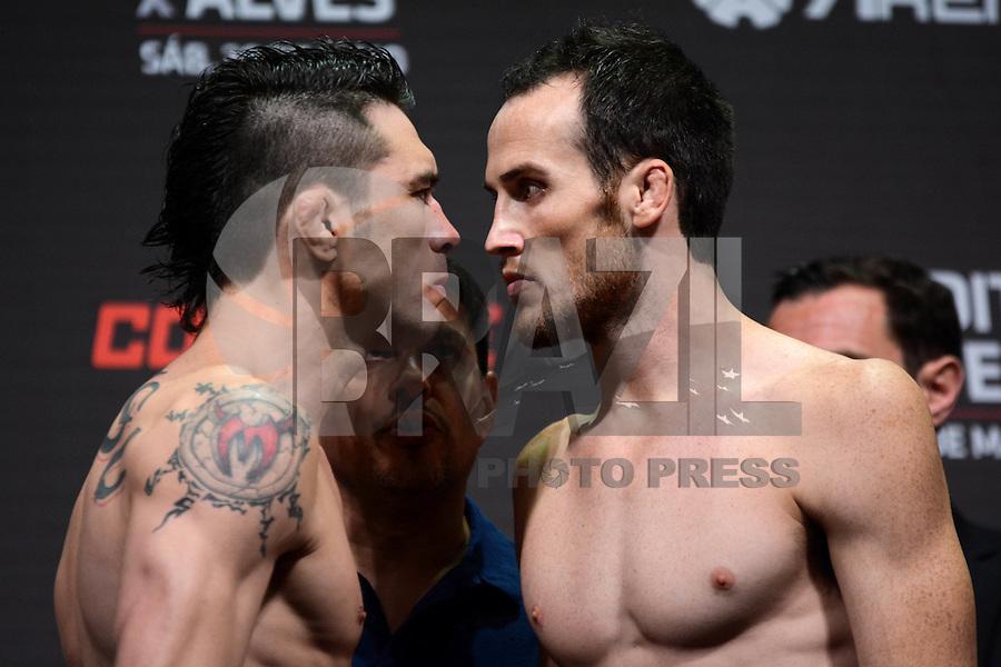 GOIÂNIA, GO, 29.05.2015 – UFC-GOIÂNIA – Rony Jason e Damon Jackson durante pesagem para o UFC Goiânia  no Goiânia Arena em Goiânia na tarde desta sexta-feira, 29. (Foto: Ricardo Botelho / Brazil Photo Press)
