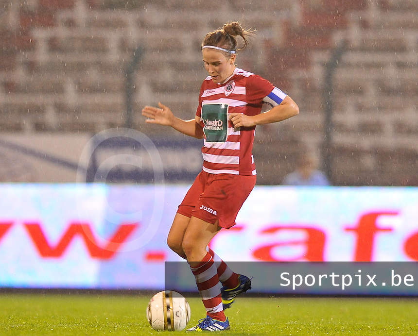 20130913 - ANTWERPEN , BELGIUM : Antwerp Marlies Verbruggen pictured during the female soccer match between Royal Antwerp FC Vrouwen / Ladies and K AA Gent Ladies at the BOSUIL STADIUM , of the fourth matchday in the BENELEAGUE competition. Friday 13 September 2013. PHOTO DAVID CATRY