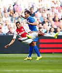 Nederland, Amsterdam, 24 augustus 2014<br /> Eredivisie<br /> Seizoen 2014-2015<br /> Ajax-PSV <br /> Karim Rekik (r.) van PSV maakt een overtreding op Ricardo van Rhijn (l.) van Ajax en krijgt hiervoor een gele kaart.