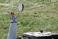12th March 2020, Olympia, Greece;  An actress performs during the flame lighting ceremony for Tokyo 2020 Olympic Games