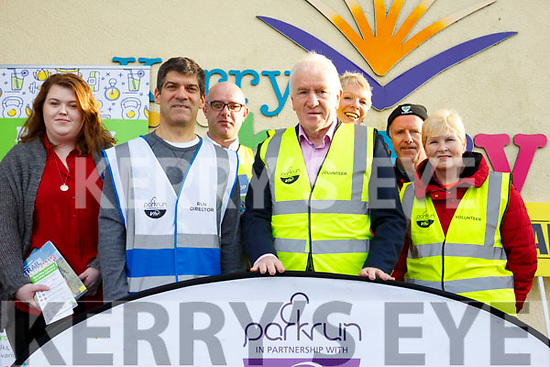 The Listowel Parkrun launch the Healthy eating Initiative at the Listowel Library. L to r, Caroline Larkin, Tim Segal (Event Director, Barty Flynn (Listowel Library), Jimmy Deenihan, Maggie Large, John and Joan Keane.