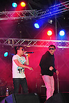 Kaohsiung, MegaPort Music Festival -- Members of Taiwanese rapper DA ZHI's (Dog-G) entourage on stage.