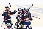 Stockholm 2014-03-27 Ishockey Kvalserien Djurg&aring;rdens IF - R&ouml;gle BK :  <br /> Djurg&aring;rdens Joakim Eriksson har gjort 2-1 och jublar med lagkamrater<br /> (Foto: Kenta J&ouml;nsson) Nyckelord:  DIF Djurg&aring;rden R&ouml;gle RBK Hovet jubel gl&auml;dje lycka glad happy