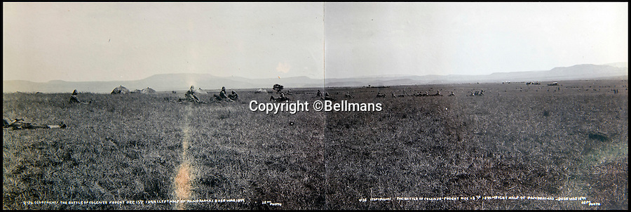 BNPS.co.uk (01202 558833)<br /> Pic: Bellmans/BNPS<br /> <br /> A panoramic image of the Battle of Colenso.<br /> <br /> A rare and extraordinary photo album documenting a British army regiment before, during and after the Boer War has been discovered after more than 100 years.<br /> <br /> The album contains more than 150 black and white images of the First Battalion, Rifle Brigade and provide a fascinating record of their battles with the Boers in South Africa from 1899 to 1902.<br /> <br /> The annotated images show a large parade of men before embarking on a ship on the Isle of Wight to take them to South Africa in 1899 followed by famous battles they were involved in when they got there.<br /> <br /> The action highlighted took place at Ladysmith, Spion Kop and St. Pieters.