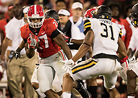 Athens, GA - September 2, 2017: The fifteenth ranked University of Georgia Bulldogs play the Appalachian State Mountaineers at Sanford Stadium.  Final score UGA 31, App State 10.