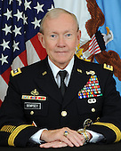 "United States Army General Martin E. Dempsey was sworn-in as the 18th Chairman of the Joint Chiefs of Staff on October 1, 2011 after serving as the Army's 37th Chief of Staff from April 11, 2011 through September 7, 2011. Past assignments have taken him and his family across the globe during both peace and war from Platoon Leader to Combatant Commander.  He is a 1974 graduate of the United States Military Academy and a career armor officer. As a company grade officer, he served with the 2nd Cavalry in United States Army Europe and with the 10th Cavalry at Fort Carson.  Following troop command he earned his Masters of Arts in English from Duke University and was assigned to the English Department at West Point.   In 1991, Gen. Dempsey deployed with the Third Armored Division in support of OPERATION DESERT STORM.  Following DESERT STORM, he commanded 4th Battalion 67th Armor (Bandits) in Germany for two years and then departed to become Armor Branch Chief in US Army Personnel Command.  From 1996-1998 he served as the 67th Colonel of the Third Armored Cavalry Regiment.  Following this assignment as the Army's ""senior scout"" he served on the Joint Staff as an Assistant Deputy Director in J-5 and as Special Assistant to the Chairman of the Joint Chiefs of Staff. From September 2001 to June 2003, General Dempsey served in the Kingdom of Saudi Arabia training and advising the Saudi Arabian National Guard.  In June of 2003, General Dempsey took command of the 1st Armored Division in Baghdad, Iraq.  After 14 months in Iraq, General Dempsey redeployed the division to Germany and completed his command tour in July of 2005.  He then returned to Iraq for two years in August of 2005 to train and equip the Iraqi Security Forces as Commanding General of MNSTC-I.  From August 2007 through October 2008, GEN Dempsey served as the Deputy Commander and then Acting Commander of U.S. Central Command.  Before becoming Chief of Staff of the Army, he commanded US Army Training and Do"