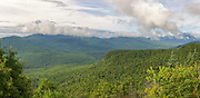 Panoramic of mountain scene from Attitash Trail on Table Mountain in Bartlett, New Hampshire USA during the summer months. This image consists of four images stitched together