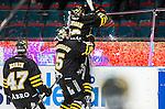 Stockholm 2014-10-14 Ishockey Hockeyallsvenskan AIK - Malm&ouml; Redhawks :  <br /> AIK:s Marcus Jonsson jublar mot plexiglaset p&aring; sargen efter sitt avg&ouml;rande 3-2 m&aring; i f&ouml;rl&auml;ningen under matchen mellan AIK och Malm&ouml; Redhawks <br /> (Foto: Kenta J&ouml;nsson) Nyckelord:  AIK Gnaget Hockeyallsvenskan Allsvenskan Hovet Johanneshov Isstadion Malm&ouml; Redhawks jubel gl&auml;dje lycka glad happy