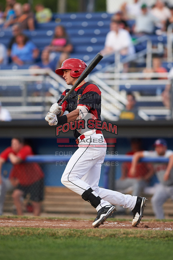 Batavia Muckdogs third baseman Tyler Curtis (11) singles in the bottom of the fourth inning during a game against the Auburn Doubledays on July 6, 2017 at Dwyer Stadium in Batavia, New York.  Auburn defeated Batavia 4-3.  (Mike Janes/Four Seam Images)