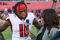 Landover, MD - November 4, 2018: Atlanta Falcons wide receiver Julio Jones (11) is interviewed by Pam Oliver after the  game between Atlanta Falcons and Washington Redskins at FedEx Field in Landover, MD.   (Photo by Elliott Brown/Media Images International)