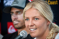 """COOLANGATTA, Australia (Thursday, February 26, 2009) - Current world surfing champions KELLY SLATER (USA)  and STEPHANIE GILMORE (AUS)  at the Quiksilver Pro press conference...The world's best surfers are gearing up for the opening event of the 2009 ASP World Tour, the Quiksilver Pro Gold Coast presented by LG Mobile, at Snapper Rocks from February 28 through March 11, 2009.. .Event No. 1 of 10 on the 2009 ASP World Tour, the Quiksilver Pro Gold Coast will see the return of reigning and nine-time ASP World Champion Kelly Slater (USA), 36, in his bid for an unprecedented tenth crown, but a swath of the world's top talents will be standing in his way.  Slater (Florida, USA) looks relaxed and confident heading into this weekend's Quiksilver Pro presented by LG Mobile...The defending Quiksilver Pro champion, who was on hand at Snapper Rocks today for the official press launch, declared he'll almost certainly challenge for an unprecedented 10th ASP world title...""""I think I'm pretty relaxed about it,"""" said Slater...""""I'll probably have a few nerves to start. But once you hit the water and start surfing you stop thinking about the big picture."""" .The event will get underway on Saturday 28th February, conditions permitting..Photo: joliphotos.com"""