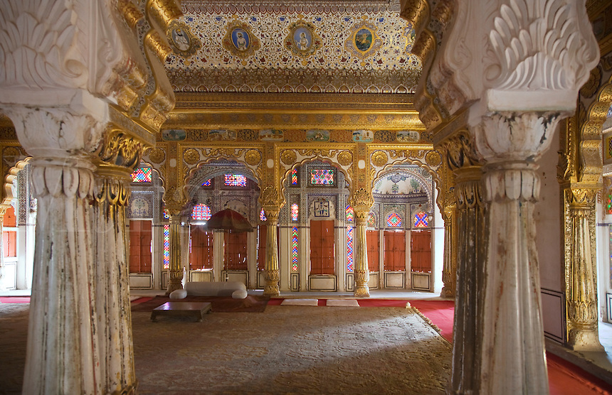 The PHOOL MAHAL or FLOWER PALACE of MEHERANGARH FORT built by Maharaja Man Singh in 1806 - RAJASTHAN, INDIA