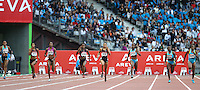 Allyson Felix winning the 200m with a time of 22.14 at the Samsung Diamond League in Paris on Friday, July 16, 2010. Photo by Errol Anderson