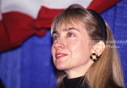 """Hillary Rodham Clinton, wife of Governor Bill Clinton (Democrat of Arkansas), attends a rally for her husband at Hesser Business College in Manchester, New Hampshire on February 17, 1992.  The Clintons were campaigning in advance of New Hampshire's """"First in the Nation"""" presidential primary.<br /> Credit: Ron Sachs / CNP"""