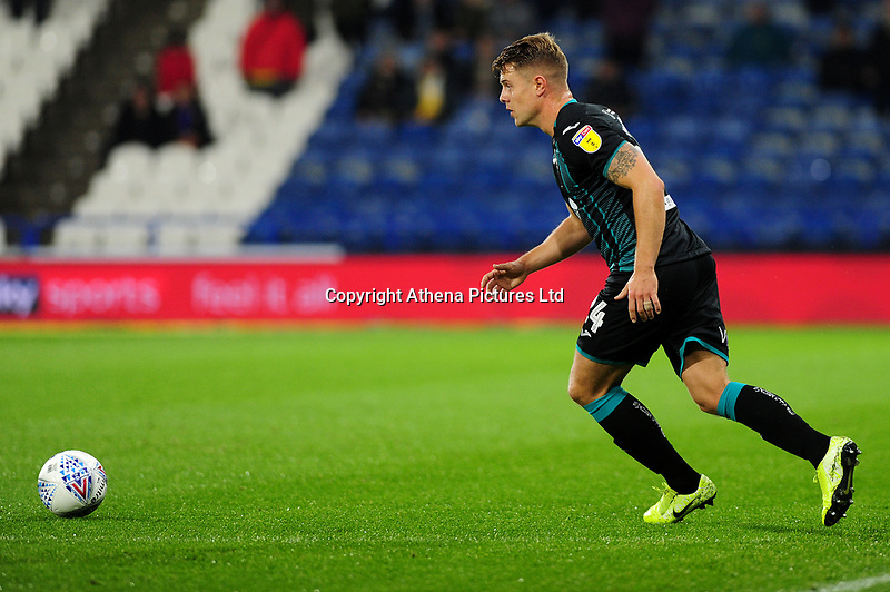 Jake Bidwell of Swansea City in action during the Sky Bet Championship match between Huddersfield Town and Swansea City at The John Smith's Stadium in Huddersfield, England, UK. Tuesday 26 November 2019