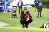 Sebastian Heisele (GER) on the 18th green during Saturday's storm delayed Round 2 of the Andalucia Valderrama Masters 2018 hosted by the Sergio Foundation, held at Real Golf de Valderrama, Sotogrande, San Roque, Spain. 20th October 2018.<br /> Picture: Eoin Clarke | Golffile<br /> <br /> <br /> All photos usage must carry mandatory copyright credit (&copy; Golffile | Eoin Clarke)