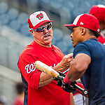 15 August 2017: Washington Nationals Hitting Coach Rick Schu gives shortstop Wilmer Difo some guidance prior to a game against the Los Angeles Angels at Nationals Park in Washington, DC. The Nationals defeated the Angels 3-1 in the first game of their 2-game series. Mandatory Credit: Ed Wolfstein Photo *** RAW (NEF) Image File Available ***