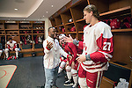 Former Wisconsin football player and Super Bowl LI Champion James White dropped by the Wisconsin Badgers locker room prior to NCAA Big Ten Conference hockey game against the Michigan Wolverines Saturday, February 18, 2017, in Madison, Wisconsin. The Badgers won 6-4. (Photo by David Stluka)