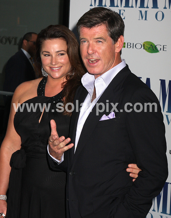 **ALL ROUND PICTURES FROM SOLARPIX.COM**.**SYNDICATION RIGHTS FOR UK, SPAIN, PORTUGAL, AUSTRALIA, S.AFRICA & DUBAI (U.A.E) ONLY**.The James Bond star Pierce Brosnan and Meryl Streep attended the Mamma Mia! World Premiere at the  Ziegfeld Theatre on 54th Street in New York in the  USA. .This pic:Keely Shay Smith,Pierce Brosnan..JOB REF:6858-PHZ/Janet Mayer    DATE:16_07_08 .**MUST CREDIT SOLARPIX.COM OR DOUBLE FEE WILL BE CHARGED* *UNDER NO CIRCUMSTANCES IS THIS IMAGE TO BE REPRODUCED FOR ANY ONLINE EDITION WITHOUT PRIOR PERMISSION*