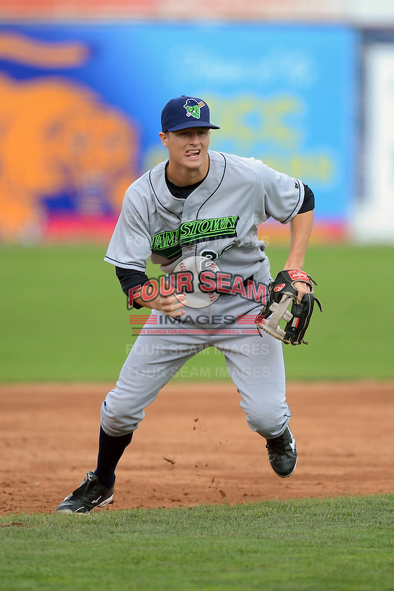 Jamestown Jammers third baseman Erich Weiss (26) during a game against the Batavia Muckdogs on July 24, 2013 at Dwyer Stadium in Batavia, New York.  Jamestown defeated Batavia 9-7.  (Mike Janes/Four Seam Images)