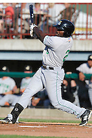 Chantz Mack #2 of the Clinton LumberKings swings against the Burlington Bees at Community Field  on July 3, 2014 in Burlington, Iowa. The LumberKings defeated the Bees 6-5.   (Dennis Hubbard/Four Seam Images)