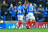 Marcus Harness of Portsmouth right celebrates scoring the first goal during Portsmouth vs AFC Wimbledon, Sky Bet EFL League 1 Football at Fratton Park on 11th January 2020