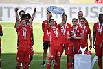 die Bayern mit der Meisterschale, Siegerehrung,<br />Thomas MUELLER (MŸller, M) mit der Schale, <br />Jubel, jubeln, Freude, cheers, <br /><br />Sport: Fussball: 1. Bundesliga: Saison 19/20: 34.Spieltag, <br />VFL WOLFSBURG - FC BAYERN MUENCHEN <br />am 27.06.2020 in der Volkswagen Arena Wolfsburg, <br /><br />Nur fuer journalistische Zwecke! <br />Only for editorial use!<br />Gemaess den Vorgaben der DFL Deutsche Fussball Liga ist es untersagt, in dem Stadion und/oder vom Spiel angefertigte Fotoaufnahmen in Form von Sequenzbildern und/oder videoaehnlichen Fotostrecken zu verwerten bzw. verwerten zu lassen. <br />DFL regulations prohibit any use of photographs as image sequences and/or quasi-video.<br />National and International News Agencies OUT<br />NO RESALE!
