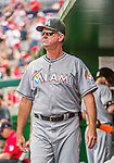 30 August 2015: Miami Marlins Manager Dan Jennings watches play from the dugout during a game against the Washington Nationals at Nationals Park in Washington, DC. The Nationals defeated the Marlins 7-4 in the third game of their 3-game weekend series. Mandatory Credit: Ed Wolfstein Photo *** RAW (NEF) Image File Available ***
