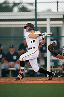 GCL Pirates center fielder Justin Harrer (16) follows through on a swing during the second game of a doubleheader against the GCL Yankees East on July 31, 2018 at Pirate City Complex in Bradenton, Florida.  GCL Pirates defeated GCL Yankees East 12-4.  (Mike Janes/Four Seam Images)