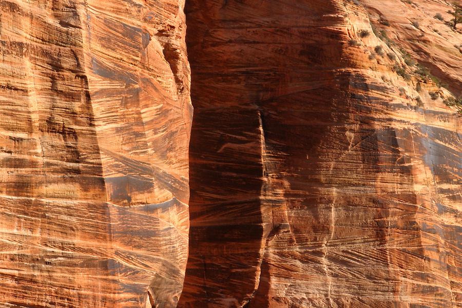 Orange Canyon wall on Mount Spry, Zion National Park, Washington County, UT