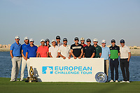 The15 qualifying graduates pose for a group photograph after the final round of the Ras Al Khaimah Challenge Tour Grand Final played at Al Hamra Golf Club, Ras Al Khaimah, UAE. 03/11/2018<br /> Picture: Golffile | Phil Inglis<br /> <br /> All photo usage must carry mandatory copyright credit (&copy; Golffile | Phil Inglis)