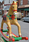 "A view of ""17"" one of the 35 Artist painted Rocking Horses on display around Saugerties, NY as part of the Chamber of Commerce sponsored Art in the Village Project titled ""Rockin' Around Saugerties."" This photo taken on Friday, May 26, 2017. Photo by Jim Peppler. Copyright/Jim Peppler-2017."