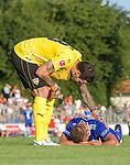 18.07.2018, Voehlinstadion, Illertissen, GER, FSP, FV Illertissen - VfB Stuttgart, im Bild Jens Grahl (Stuttgart, #13) kuemmert sich um Markus Bolkart (Illertissen, #19)<br /> <br /> Foto &copy; nordphoto / Hafner