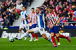 Kieran Trippier of Atletico de Madrid and Sergi Darder of RCD Espanyol during La Liga match between Atletico de Madrid and RCD Espanyol at Wanda Metropolitano Stadium in Madrid, Spain. November 10, 2019. (ALTERPHOTOS/A. Perez Meca)