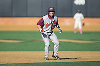 Miguel Ceballos (13) of the Virginia Tech Hokies takes his lead off of second base against the Wake Forest Demon Deacons at Wake Forest Baseball Park on March 7, 2015 in Winston-Salem, North Carolina.  The Hokies defeated the Demon Deacons 12-7 in game one of a double-header.   (Brian Westerholt/Four Seam Images)