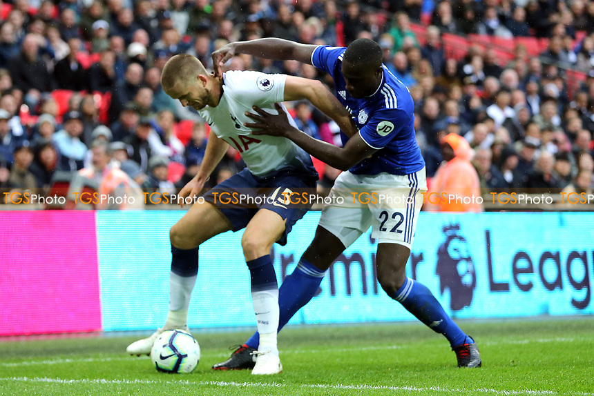Souleymane Bamba of Cardiff City and Eric Dier of Tottenham Hotspur during Tottenham Hotspur vs Cardiff City, Premier League Football at Wembley Stadium on 6th October 2018