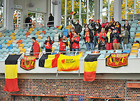 20131011 - SCHWEINFURT , GERMANY :  Belgian Fans pictured during the female soccer match between Belgium Women U17 and The Netherlands U17 , in the first game of the Elite round in group6 in the UEFA European Women's Under 17 competition 2013 in the Willy Sachs Stadium - Schweinfurt. Friday 11 October 2013. PHOTO DAVID CATRY