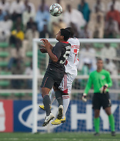 Bryan Duran goes up for the header against Tonny Chitsulo. US Men's National Team Under 17 defeated Malawi 1-0 in the second game of the FIFA 2009 Under-17 World Cup at Sani Abacha Stadium in Kano, Nigeria on October 29, 2009.