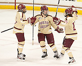 Kaliya Johnson (BC - 6), Alex Carpenter (BC - 5), Blake Bolden (BC - 10) - The Boston College Eagles defeated the visiting Harvard University Crimson 3-1 in their NCAA quarterfinal matchup on Saturday, March 16, 2013, at Kelley Rink in Conte Forum in Chestnut Hill, Massachusetts.