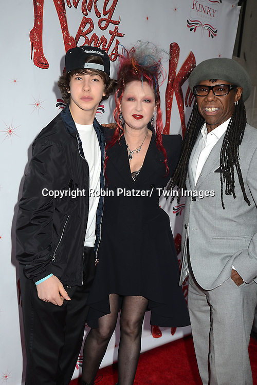 """Cyndi Lauper and son and Nile Rogers arrive at the """"Kinky Boots"""" Broadway Opening on April 4, 2013 at The Al Hirschfeld Theatre in New York City. Harvey Fierstein wrote is the Book Writer and Cnydi Lauper is the Composer."""