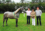 Tommy Sweeney from Ballyconnelly Galway with his yearling filly, which won Best in Show at the Tourmakeady Agricultural show  pictured with Jane Maxwell judge and Seamus Hughes Show Committee...Pic Conor McKeown