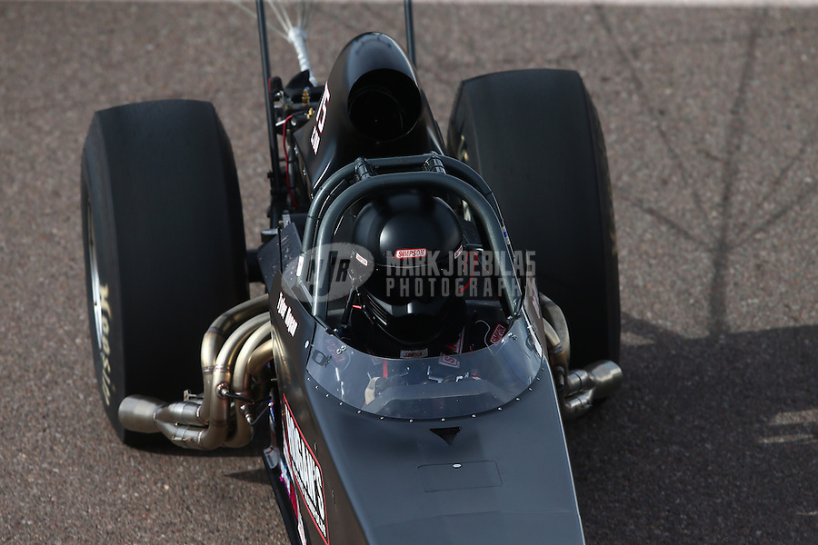 Feb 21, 2015; Chandler, AZ, USA; NHRA competition eliminator driver Tyler Hogan during qualifying for the Carquest Nationals at Wild Horse Pass Motorsports Park. Mandatory Credit: Mark J. Rebilas-