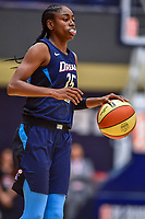 Washington, DC - August 31, 2018: Atlanta Dream guard Tiffany Hayes (15) handles the ball during semi finals playoff game between Atlanta Dream and Wasington Mystics at the Charles Smith Center at George Washington University in Washington, DC. (Photo by Phil Peters/Media Images International)