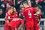 03.11.2018, Allianz Arena, Muenchen, GER, 1.FBL,  FC Bayern Muenchen vs. SC Freiburg, DFL regulations prohibit any use of photographs as image sequences and/or quasi-video, im Bild Jubel nach dem Tor zum 1-0 durch Serge Gnabry (FCB #22) mit Rafinha (FCB #13) Renato Sanches (FCB #35) Niklas Suele (FCB #4) David Alaba (FCB #27) <br /> <br />  Foto &copy; nordphoto / Straubmeier