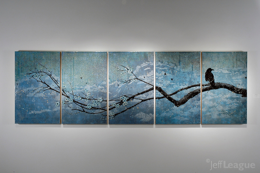 "Mixed media encaustic photo transfer over antique map by Jeff League. 5 panel, 42"" x 135""."
