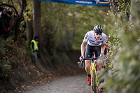 European Champion Toon Aerts (BEL/Telenet Fidea Lions) leading the race up the Koppenberg<br /> <br /> Elite Men's race<br /> Koppenbergcross / Belgium 2017