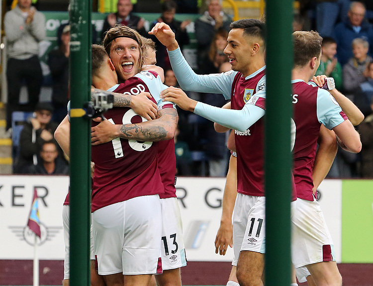 Burnley's Jeff Hendrick (centre) is mobbed by team-mates after scoring the opening goal<br /> <br /> Photographer Rich Linley/CameraSport<br /> <br /> The Premier League - Burnley v Everton - Saturday 5th October 2019 - Turf Moor - Burnley<br /> <br /> World Copyright © 2019 CameraSport. All rights reserved. 43 Linden Ave. Countesthorpe. Leicester. England. LE8 5PG - Tel: +44 (0) 116 277 4147 - admin@camerasport.com - www.camerasport.com