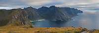 Panoramic view over Kvalvika beach and wild northern coast of Moskenesøy, Lofoten Islands, Norway