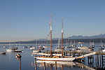 Puget Sound, Schooner Adventurous, Port Townsend, Wooden Boat Festival, leaving harbor, sunrise, Salish Sea, Washington State, Pacific Northwest, United States,