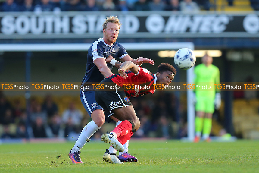 Adam Thompson of Southend United tangles with Ivan Toney of Shrewsbury Town during Southend United vs Shrewsbury Town, Sky Bet EFL League 1 Football at Roots Hall on 29th October 2016